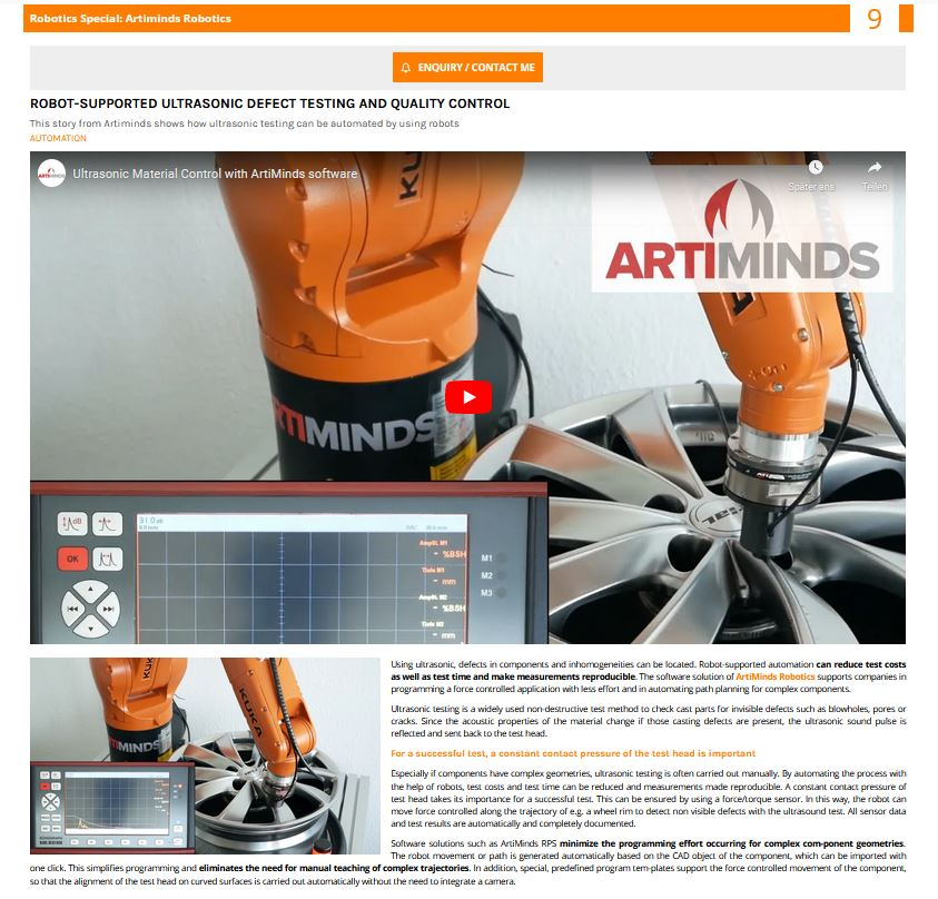 Robot-supported ultrasonic defect testing with ArtiMinds RPS