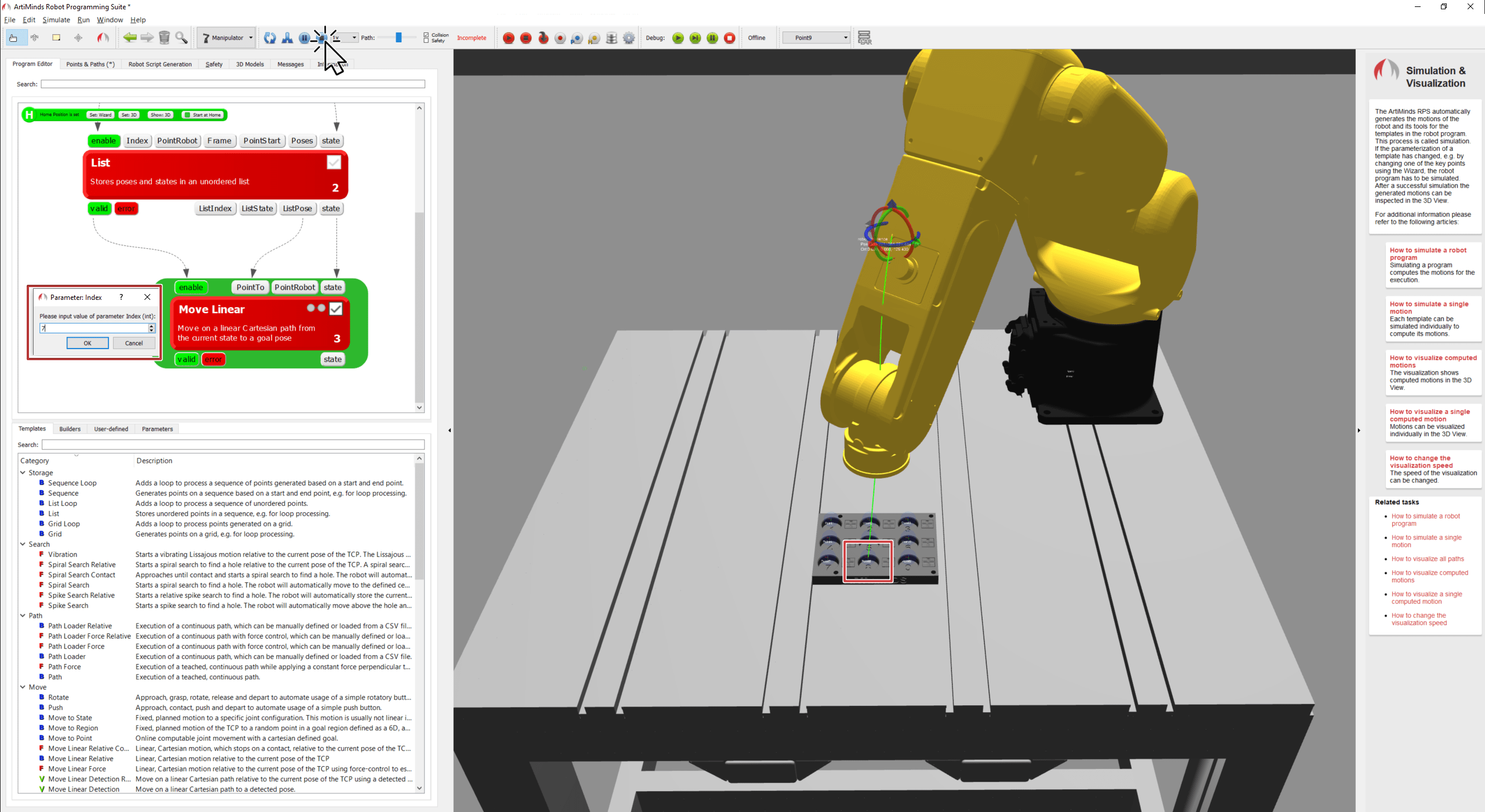 Robot moves to updated target position