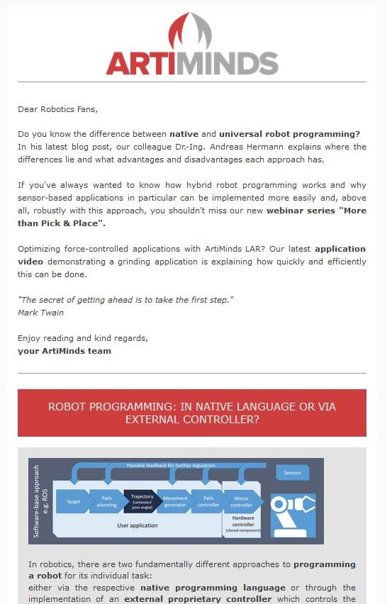 ArtiMinds Robotics - Newsletter Archive