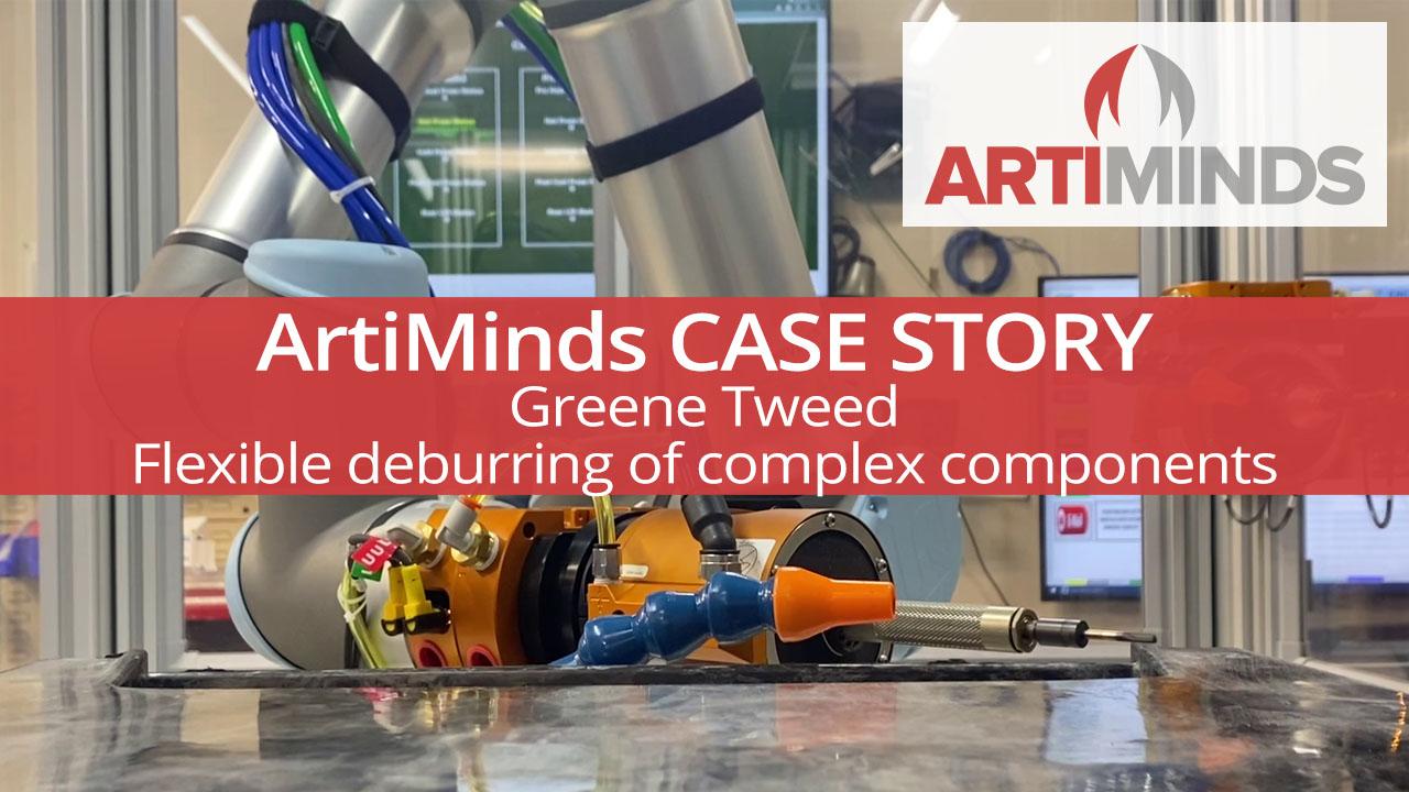 ArtiMinds Robotics robotic deburring cell at Greene Tweed