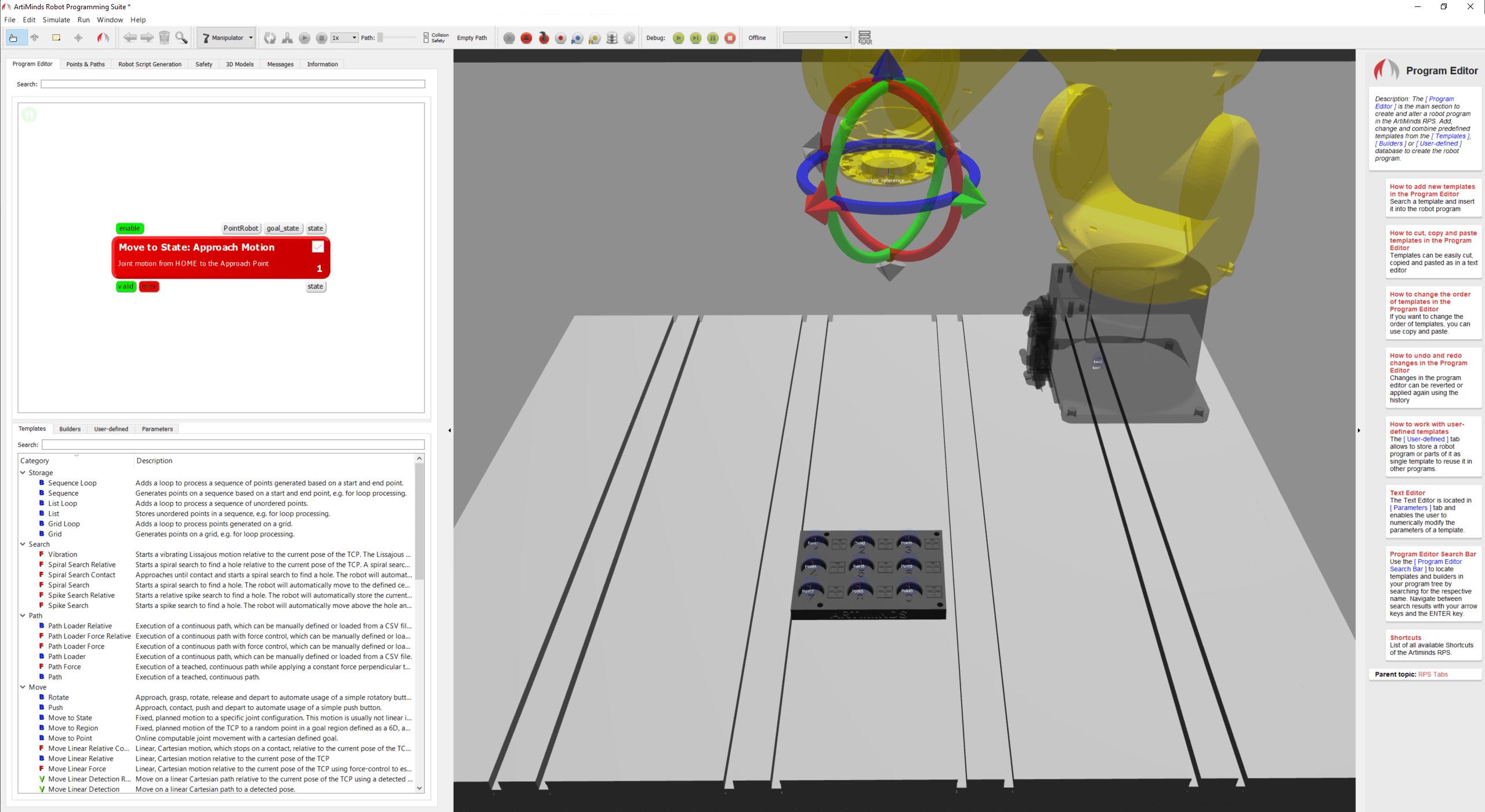 robot should move to nine points on the component