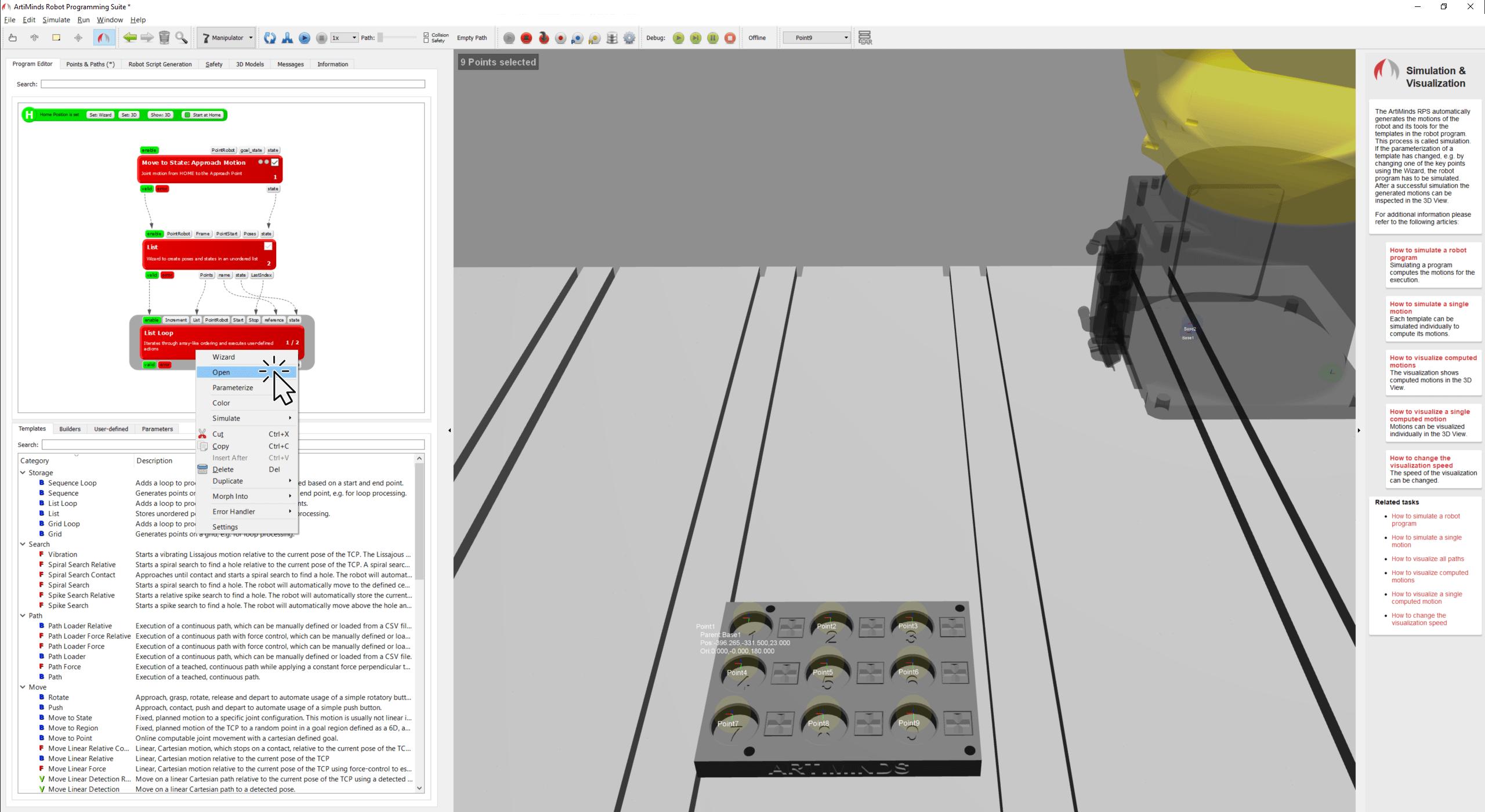 Open loop template