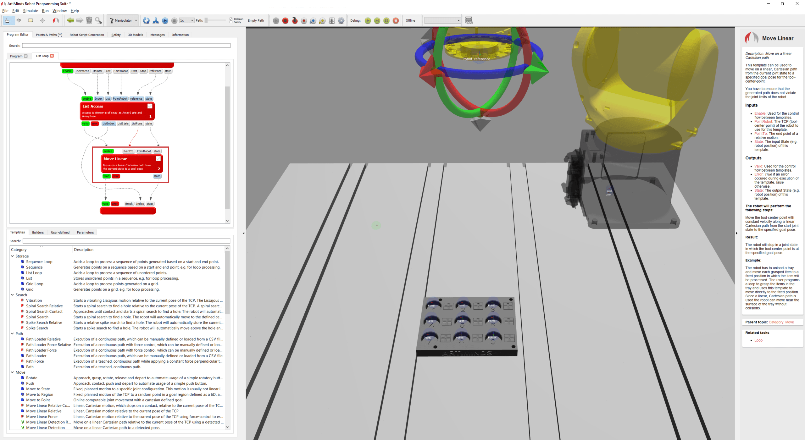 Inserting movement template