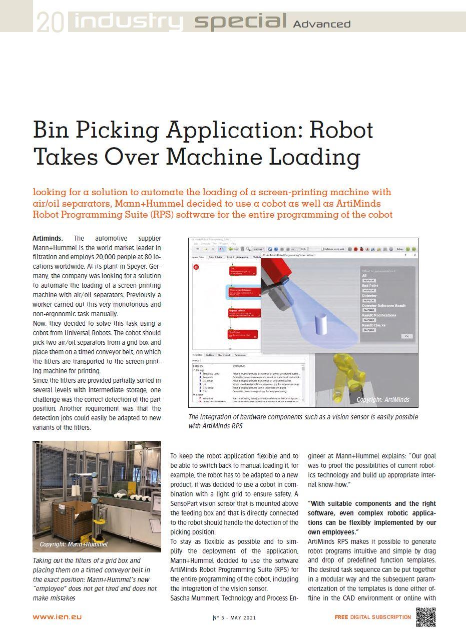 ArtiMinds Robotics - Success Story Mann+Hummel Bin Picking